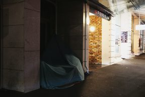 A makeshift tent on Hobson Street in Auckland City.