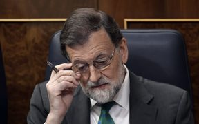 Spanish Prime Minister Mariano Rajoy attends a debate on a no-confidence motion.