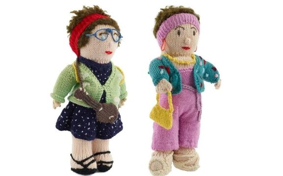 Knitted dolls of Camp Leader and Camp Mother made by a fan. Gift of Lynda and Jools Topp to Te Papa in 2000.