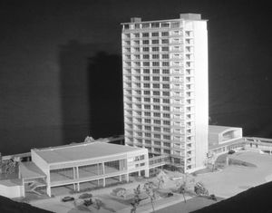 The original 1956 model of the Civic Administration Building design.The annexes on either side were never built.