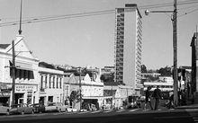 In 1973 the building still dominated uptown Auckland. This photo is taken from the corner of Albert and Wellesley Streets, the location of Auckland Council's new HQ.