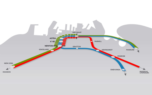 The new section of rail (shown in broken lines) will link existing train routes.