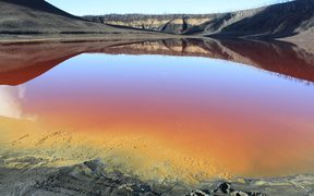 The lake surrounding the Manaro-Vui volcano has almost disappeared, and the remnants are heavily loaded with minerals, creating a blood-red colour.