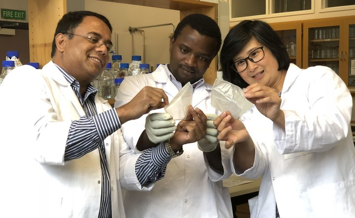 Azam Ali, Stephen Gitonga Giteru and Indrawati Oey are developing a new edible flexible food wrap.