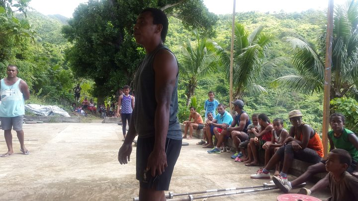 A local weightlifting competition at the high performance centre in Levuka, which was destroyed by Cyclone Winston in 2016