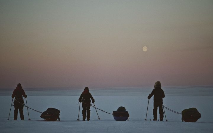 The team during their month-long traverse of Greenland's ice cap.