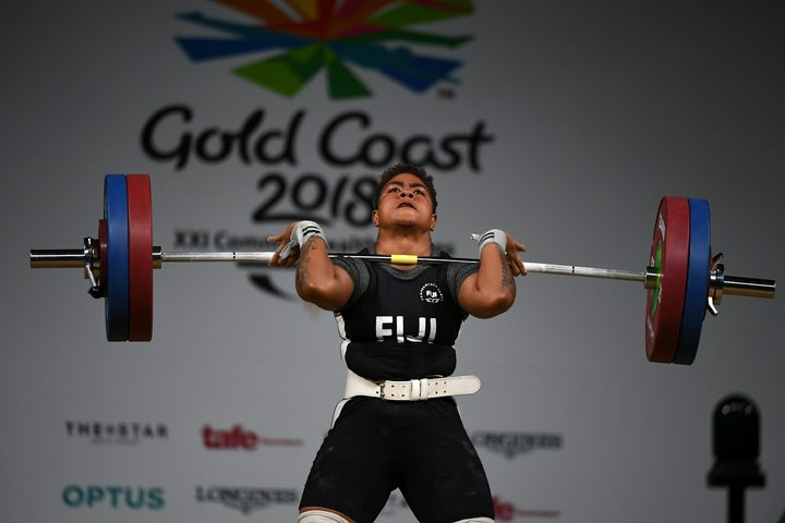 Fiji's Apolonia Vaivai lifts in the women's 69kg final during the 2018 Gold Coast Commonwealth Games.