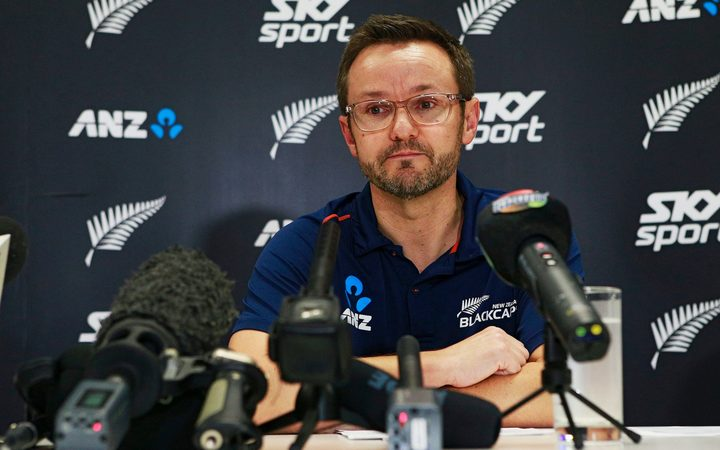 Mike Hesson during the press conference announcing his resignation as Black Caps cricket coach for New Zealand.