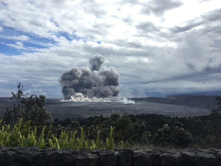 Hawaii Big Island Kilauea Summit explosion sends large plume of toxic gas into the air