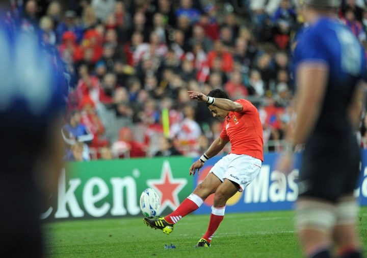 Kurt Morath kicks a penalty during Tonga's famous victory over France at the 2011 Rugby World Cup.