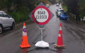 A slip blocked Nottingham St in Karori.