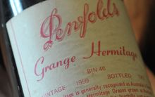 A bottle of Penfolds Grange 1959 at Wine House in Melbourne.