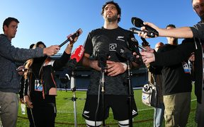 All Blacks captain Samuel Whitelock talks to the media during the captain's run at Eden Park ahead of the first test match against France.