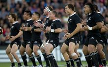 The All Blacks perform the Haka meeting Australia in a Bledisloe Cup match in Dunedin last October.