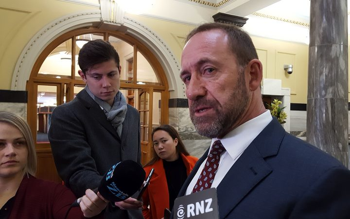 Andrew Little at the press conference.