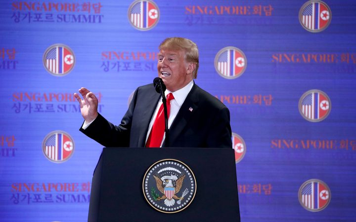 US President Donald Trump at a media conference after the summit with North Korean leader Kim Jong-un.