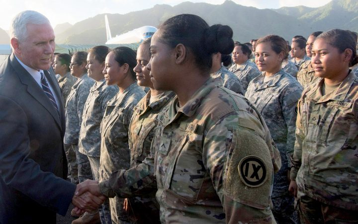 US Vice President Mike Pence greets American Samoa's US army reserves in Pago Pago, Sunday, April 23, 2017.