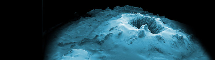 Impression of submarine Havre volcano - the highest peak is about 650 metres below the surface.