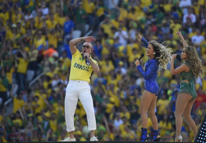 US rapper Pitbull, Brazilian singer Claudia Leitte and US singer Jennifer Lopez perform during the opening ceremony of the 2014 FIFA World Cup.