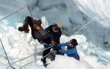 The rescue of a Sherpa after the Everest avalanche on Friday.