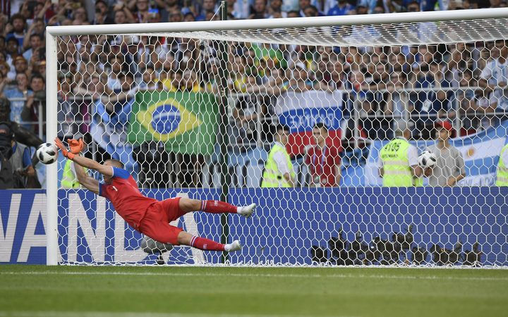 Iceland keeper Hannes Por Halldorsson saves a penalty.