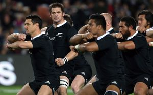 All Blacks captain Richie McCaw leads the haka.