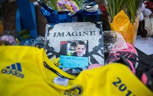 A photo of bombing victim Martin Richard placed near the marathon's finish line.