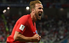 England's Harry Kane celebrating his goal.