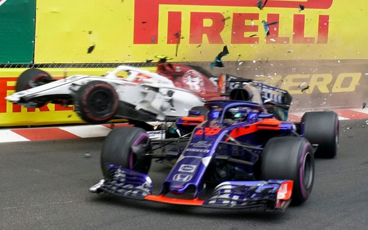 It's been a tough first up season in F1 for Brendon Hartley.  Here he crashes with Frenchman Charles Leclerc in Monaco.