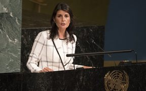 US Ambassador to the United Nations Nikki Haley speaking at the UN.