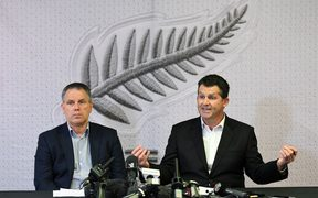 NZ Football President Deryck Shaw and chief executive Andy Martin during a NZ Football press conference over the Football Ferns head coach Andreas Heraf.