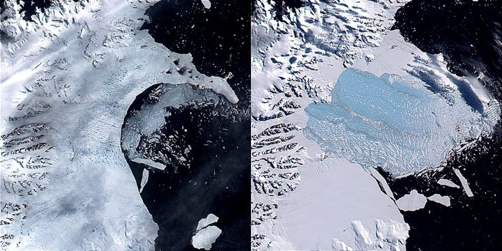 Left: sliver icebergs calve off the Larsen B Ice Shelf on 17 February 2002, while melt ponds dot the surface. Right: by 7 March 2002, most of the Larsen B Ice Shelf has disintegrated.