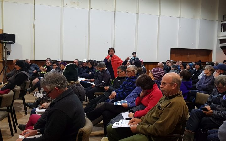 Tolaga Bay locals at a meeting to discuss recent flooding and the damage caused by the leftovers from forestry operations.