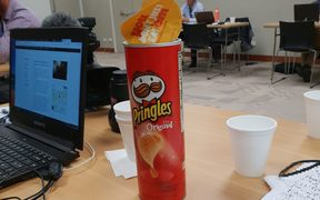 Journalists at Auckland City Hospital in making do with chips and coffee as the waiting continues.