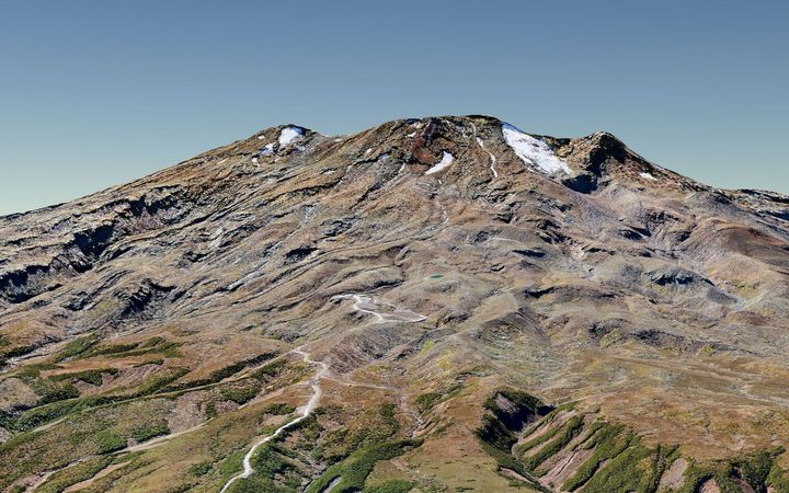 A digital terrain model of Mt Ruapehu made from aerial photos.