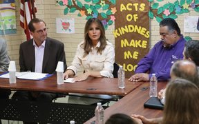 MCALLEN, TX - JUNE 21: U.S. first lady Melania Trump traveled to Texas to see first hand the condition and treatment that migrant children taken from their families at the U.S.-Mexico border are receiving from the federal government.
