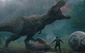 Should t-rex run from the exploding volcano? Nah, I'll get into a fight then pose dramatically