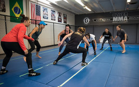 Members of the New Zealand Women's Kabaddi team training in a gym in Manukau, Auckland.