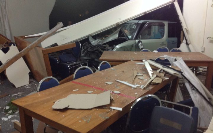 A view of the crash scene from the members' lounge of the Cook Islands parliament.