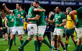 Ireland celebrate series victory over the Wallabies.