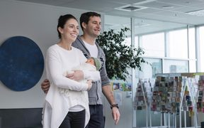 Prime Minister Jacinda Ardern and Clarke Gayford with their daughter Neve Te Aroha Ardern Gayford.
