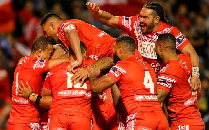 Tonga celebrate the Junior Tatola try during the Pacific Test.