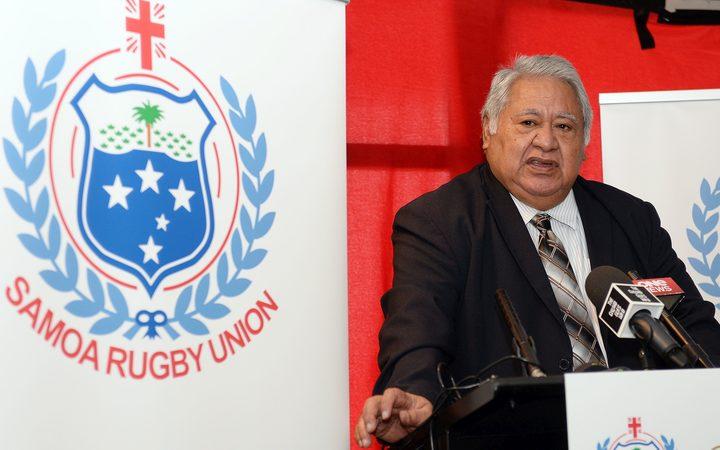 The Prime Minister of Samoa and Chair of the Samoan Rugby Union, Tuilaepa Fatialofa Aiono Neioti Lupesoliai Sailele Malielegaoi.