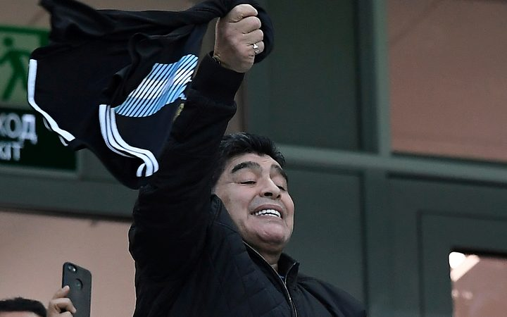 Maradona watches Argentina play at the 2018 football World Cup.