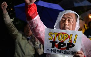 Japanese farmers porotest against the TPP trade deal at a rally the day before US President Barack Obama visits.