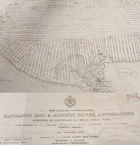This 1958 nautical chart of Rangaunu Harbour in Northland, shows individual depth soundings and was carefully hand-drawn.