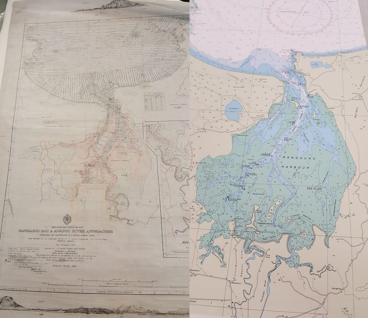 A 60-year old marine chart of Rangaunu Harbour, left, next to a modern nautical chart of the same harbour.