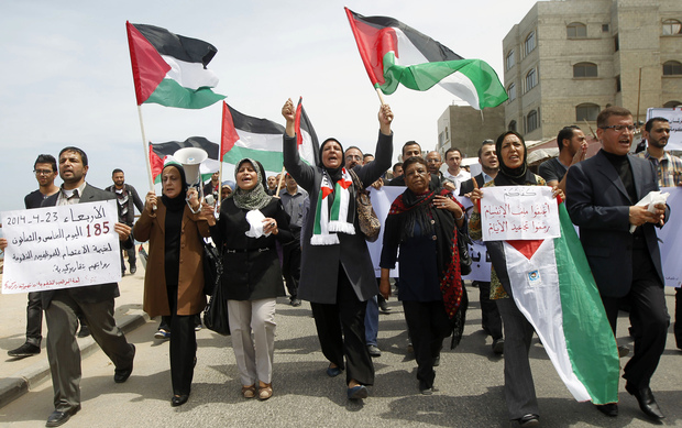 Palestinians demonstrate in the Gaza Strip in support of the new attempt at reconciliation
