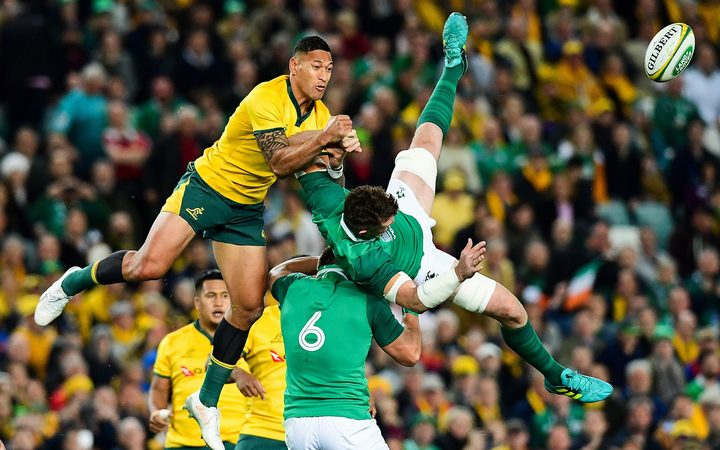 Israel Folau contesting the ball with Ireland's Peter O'Mahony - it ultimately cost him a one match ban.