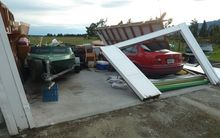 Blown away  - a Whataroa farm garage demolished during the Easter storm.